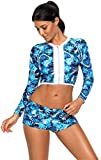 2 PC Long Sleeve Floral Zipper Front Padded Tankini Cropped Crop Top and Boxer Bottom Swimsuit Set Blue S