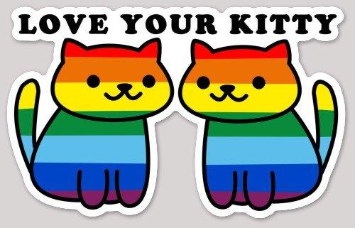FESLLC Gay Pride Bumper Sticker Love Your Kitty Rainbow LGBT Decal