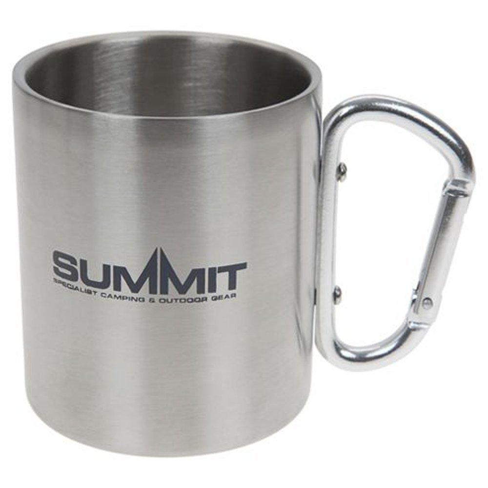 0ff41aff1 Summit 300ml Stainless Steel Mug - Double Wall Carabineer Handled - Camping  Hiking  Amazon.co.uk  Sports   Outdoors