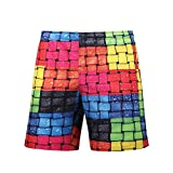 3D Shorts Men's Surf Shorts Fashion Casual Lattice Swim Trunks Comfortable Breathable Tourism Side Pocket Large Size Five Points Shorts (Color : 1, Size : XXL)
