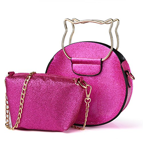 Pinky Family Girls Purse Kitty Cat Purse Candy Color Handbag with Cross-Body Shoulder Bag Gifts for Girls (Hot Pink) - Hot Pink Kitty
