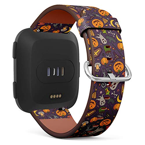 Compatible with Fitbit Versa - Quick Release Leather Wristband Bracelet Replacement Accessory Band - Halloween Doodle Cartoon -
