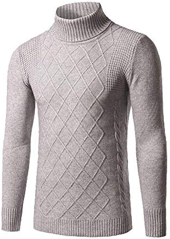 Adelina męski sweter z dzianiny sweter z kołnierzem rolkowym bluza z długim rękawem sweter zima jesień Troyer normalny lakier z dzianiny sweter: Odzież