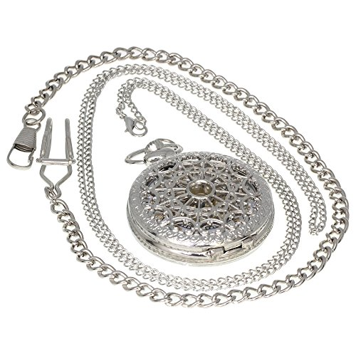 Heart Cobweb Hollow Case Skeleton Carved Vintage Pattern Brass Antique Case Pocket Watch Open Face Fob for Men Women 1 PC Necklace 1 PC Clip Key Rib Chain