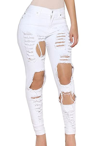 c375f035ae Ermonn Women's Ripped Washed Boyfriend Denim Trousers Jeans (Large, White  2) at Amazon Women's Jeans store