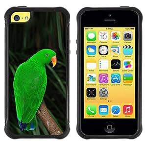 Suave TPU Caso Carcasa de Caucho Funda para Apple Iphone 5C / parrot parolee green nature tropics / STRONG