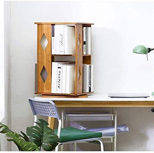 Wall Mounted Bookshelf Storage Shelf Wood Study Bookshelf Table Shelf Rotating Table Shelf Tabletop Shelf Multifunctional Tabletop Storage Cabinet 360 Degree for Bedroom Living Room Bathroom B36X36X65Cm