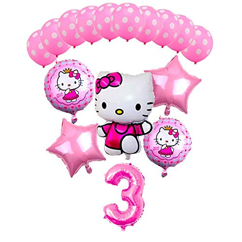 CuteTrees Hello kitty Theme 3rd birthday balloons birthday decoration 16 pcs