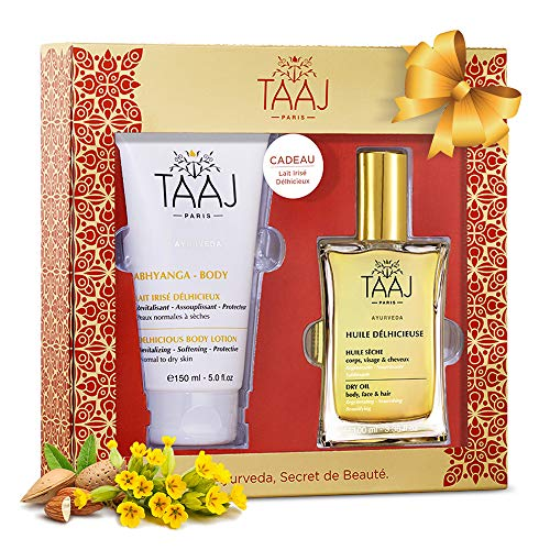 Gift Set of Delicious Aloe Vera Body Lotion with Hyaluronic Acid & Delicious Dry Oil for Body, Skin, Face & Hair - All Natural Organic Blends - Great Present For Christmas
