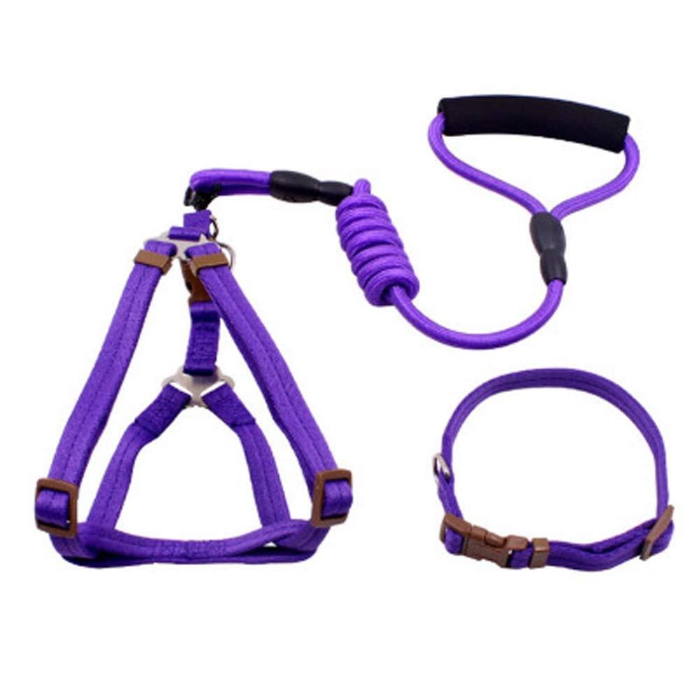 Purple Dog Leahes pet Small Medium and Large Dogs Teddy Golden Retriever cat Chest Collar Collar Leash Dog Leash (colore: Orange)