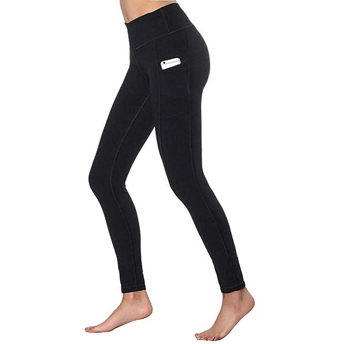 Leggins mujer, Modaworld Mallas Deportivas Mujer Pantalones de yoga de cintura alta para mujer Bolsillos Estiramiento en barriga Correr Leggings ...
