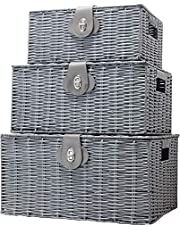 ViDiStorex Set of Three Resin Woven Storage Basket Box with Attached Lid & Lock, White, Large, Medium and Small. Decorative 3-Pack Hamper Basket, Ideal for Home Organization, bakul simpanan (Grey)