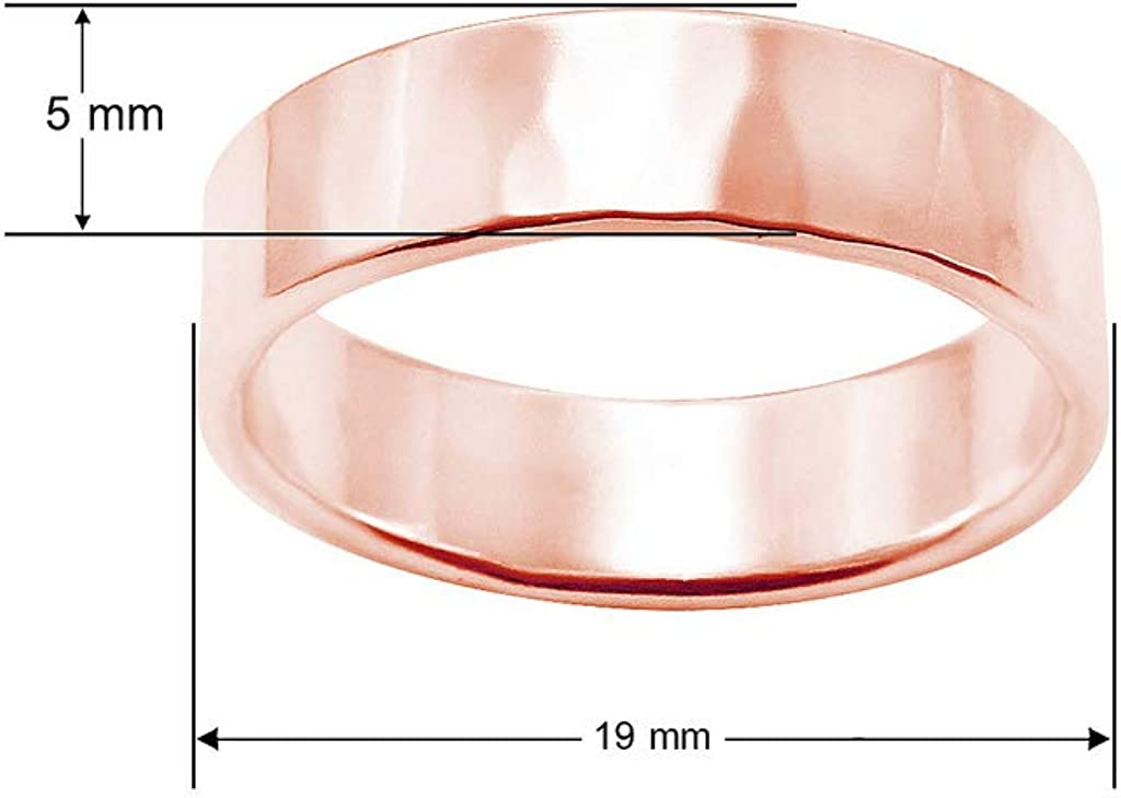Yellow /& Rose Gold Flashed 925 Sterling Silver Hammered 5mm Unisex Wedding Band Comfort Fit Ring Sizes 5-14