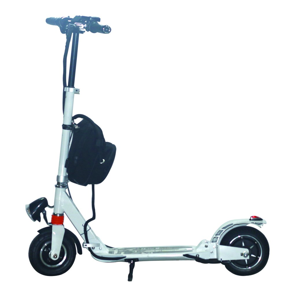 AGDA350W White Adult City Push Kick Scooter With Large Wheel,Dual Front and Rear Spring Comfort Suspension.Easy to Carry Light Weight Aluminium Kickboard.