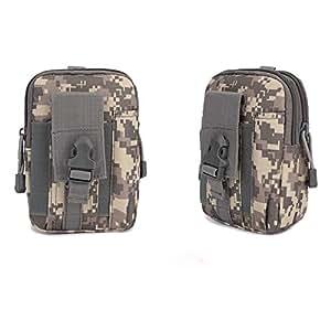 Multipurpose Tactical EDC Utility Gadget Pouch Molle Hip Waist Belt Bag Universal Cell Phone Holster Outdoor Military Wallet Nylon Case Camping Hiking Gear Tool Organizer (Hip Waist Belt Bag(ACU))