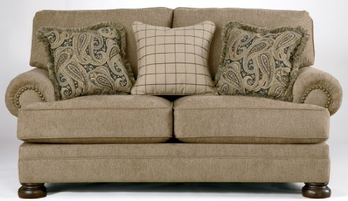Ashley Furniture Signature Design - Keereel Sofa Loveseat with 3 Pillows - Plush Upholstery - Traditional - Sand