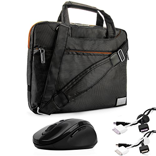 Price comparison product image NineO Water-Resistant Durable Nylon Protective Messenger Shoulder Bag [BLACK] For Alienware Gaming 11.6 inch Notebook Laptop Computer + x2 Cable Organizers + Wireless 2.4Ghz Mouse