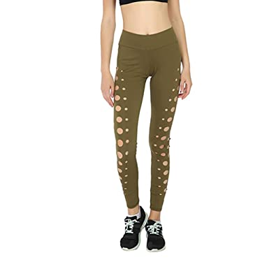 a0c8bbb9c41b MOMKER Women's Sports Sexy Circle Openwork Yoga Pants Leggings Outdoor  Fitness Trousers Brown