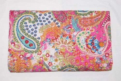 Sophia-Art Indian Handmade Paisley Print King Size Kantha Quilt, Kantha Blanket, Bed Cover, King Kantha Bedspread, Bohemian Bedding Kantha Size 90 Inch x 108 Inch (Pink) (Bedding Paisely)