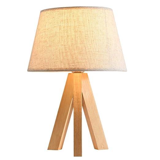 Nordic minimalista trípode mesa de noche lámpara de madera moderna ...