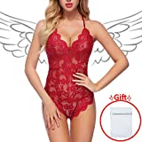 DLOREUK Women Women Lingerie Lace Teddy Babydoll Sexy Outfits,XX-Large,Red