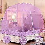 DE&QW Foldable Child Mosquito Cover Castle Tent, Sleep No Bottom Mosquito Curtain-Purple Queen1