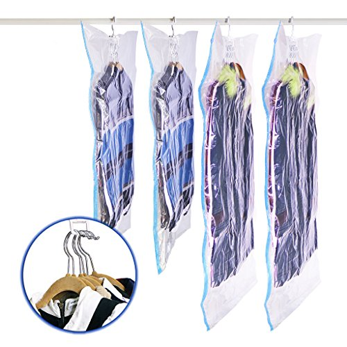 "SMING Hanging Vacuum Seal Storage Bag Clear Space Saver Bags Closet Organizer for Clothes Dress Set of 4(2 Short 41.3""x27.6""/105 x 70 cm,2 Long 57.1""x27.6""/145 x 70cm)"