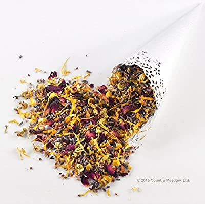 Country Meadow Flower Wedding Confetti: 5 Blend ~ 8 oz ~ Enough for 30-35 Guests ~ Lavender, Rose, Heather, Calendula, Chamomile ~ GORGEOUS!
