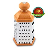 1Easylife HG-0687 Stainless Steel 6-sided Box Grater, Cheese Grater, Vegetable Grater, Slicer - A Must-have Kitchen Utensil for Vegetables, Cheese, Parmesan, Spice etc. - Easy Clean, Durable PP Handle and Anti-slip Soft Silicon Support