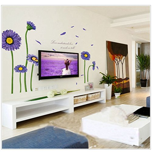 (3D Self-adhesive Removable Cute Cartoon/Birds Play Football Vinyl Wall Sticker/Mural Art Decals Decorator for Kids Nursery Room (MJ8007B Purple Daisy(23.6
