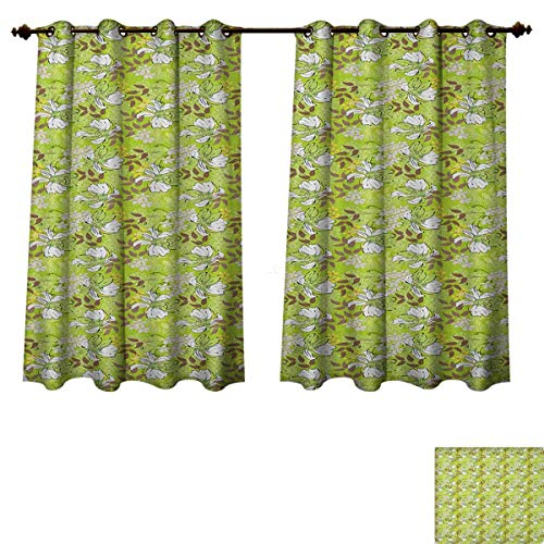 Price comparison product image PriceTextile Floral Bedroom Thermal Blackout Curtains Flourishing Nature Pattern with Doodle Style Flowers and Leaves Spring Window Curtain Drape Apple Green Taupe Yellow Size W55 xL63
