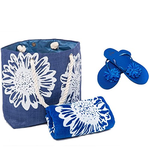 Bolsa de Playa Para Mujer + Toalla de Playa + Chanclas 3 Piezas Floral Airee Fairee Azul EU 38-39