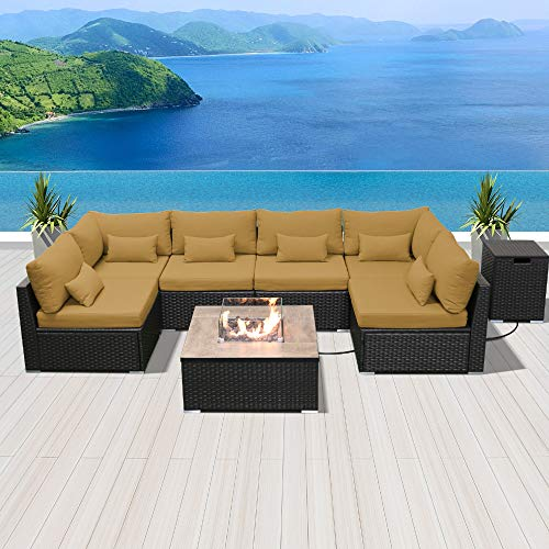 - Modenzi Outdoor Sectional Patio Furniture with Propane Fire Pit Table Espresso Brown Wicker Resin Garden Conversation Sofa Set (G7 Sofa Square Fire Pit, Dark Beige)