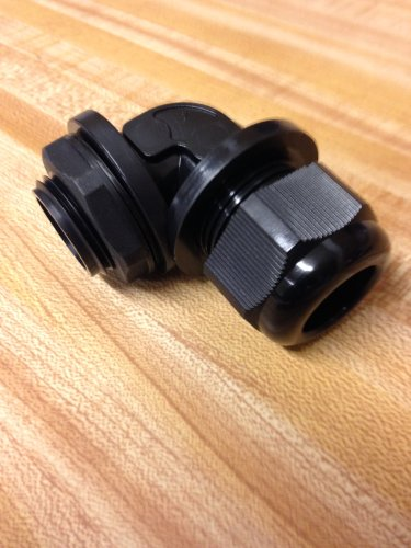 5 Pc 3/4 Inch NPT Black Right Angle Nylon Cable Gland Strain Relief with Gasket and Locknut 5 Pack Photo #2