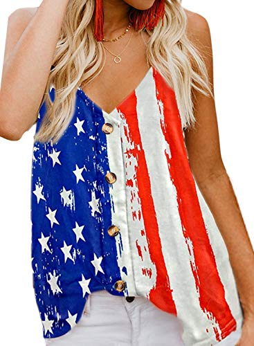 HOTAPEI Womens Spaghetti Strap Tank Top Summer Cute Sexy V Neck Chiffon USA American Flag Button Front Loose Fit Tank Tops Tie Knot Sleeveless Cami Top Shirts Blouses -