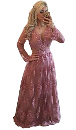 c9d0d6011be4 Irenwedding Women s Deep V Neck Beads Applique Lace Long Sleeves Pearls  Open Back Evening Prom Dress
