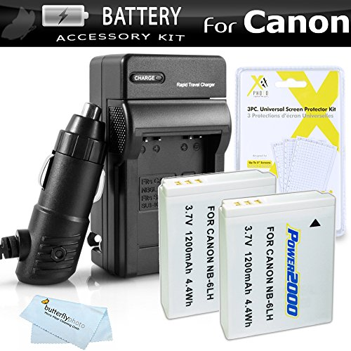 2 Pack Battery And Charger Kit For Canon PowerShot SX280 HS, SX510 HS, SX520 HS, SX170 IS, S120, SX600 HS, SX700 HS, SX610 HS, SX710 HS, SX530 HS, SX540 HS, D30 Digital Camera (Replaces NB-6L Battery) by ButterflyPhoto