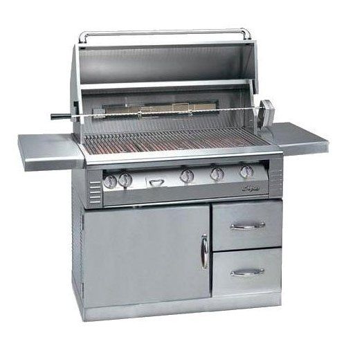 (Alfresco ALX2-42SZRFG-LP LP Searzone Grill with Refrigerated Cart, 42-Inch)