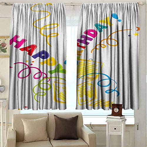 AFGG Outdoor Patio Curtains Birthday Surprise in a Box Theme Doodle Style Cheerful Spirals Confetti and Stars Happiness for Patio/Front Porch 55 W x 63 L Inches Multicolor