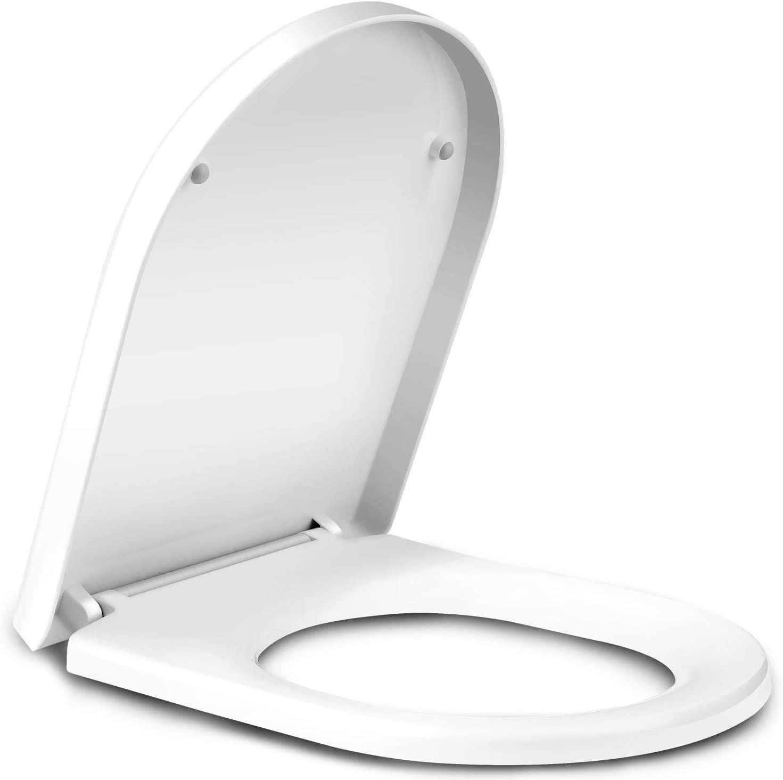 Amzdeal Tapa de wc, Tapa de inodoro con cierre suave y lenta, Asiento de inodoro de plástico duro, Tapa de asiento de wc con sencilla instalación, Tapas de wc en forma de U, Blanco
