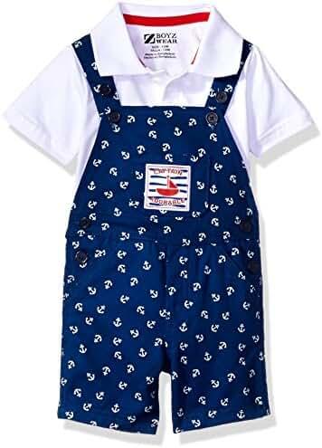Nannette Baby Boys' 2 Piece Woven Shortall Set