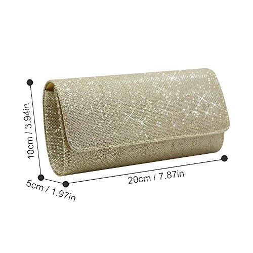 HANDBAGS NEW PARTY PURSE EVENING BAG WEDDING WOMEN SPARKLE Gold CCKUU CLUTCH Silver GLITTER qEnzdzf