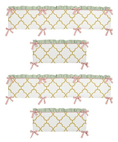 int Coral White and Gold Trellis Ava Girls Baby Bedding Set Collection Crib Bumper (Coral Trellis)