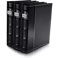Bellagio-Italia Black Leather Disc Storage Binder Perfect For CDs, DVDs, Blu-Rays, and Video Games. 3 pack - set holds 144 discs total. Additional insert sheets available.