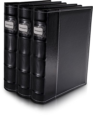 Bellagio-Italia Black Leather Disc Storage Binder Perfect For CDs, DVDs, Blu-Rays, and Video Games. 3 pack – set holds 144 discs total. Additional insert sheets available.