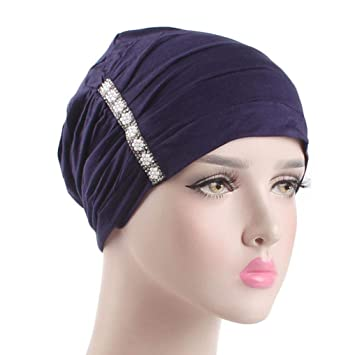 88b0ef8432d Amazon.com   Boomdan Women Muslim Stretch Turban Velvet Head Wrap Cap Hat  Hair Cover (Navy)   Beauty