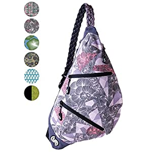 Slope Sling Bag for Women Kids School Crossbody Shoulder Backpack One Strap Daypack - Tri-Floral