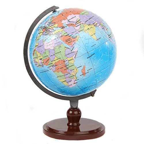 Lily's Home Your World 3D Kids Educational Interactive Earth Globe Puzzle, with Rotating Stand and Numbered Pieces for Easy Assembly, 480 Pieces (9 Inch Globe, 12