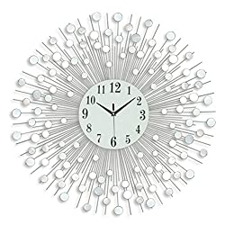 Wall Clock Silent Non Ticking Large Size 28.3 Inch Mirror Clock Easy to Read Home/Office/School Mute Decorative Creative Iron Wall Clock