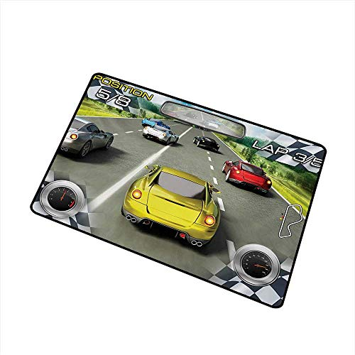 (Becky W Carr Cars Universal Door mat Car Racing Speedy Inspired Illustration Need for Speed Road Competition Motorsports Theme Door mat Floor Decoration W29.5 x L39.4)